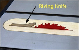 Riving knife example