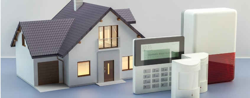 alarm system and house 3d illustration