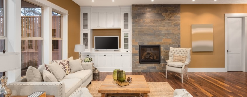 beautiful living room interior with hardwood floors and fireplace 2