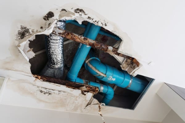 damage-home-ceiling-in-restroom-water-leak-out-from-piping-system