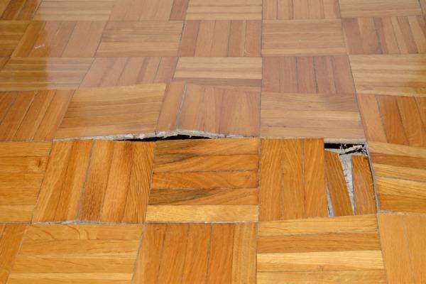 damaged wall floor