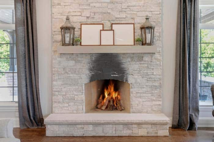 fireplace stone soot