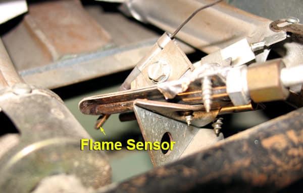 Flame sensor in a furnace