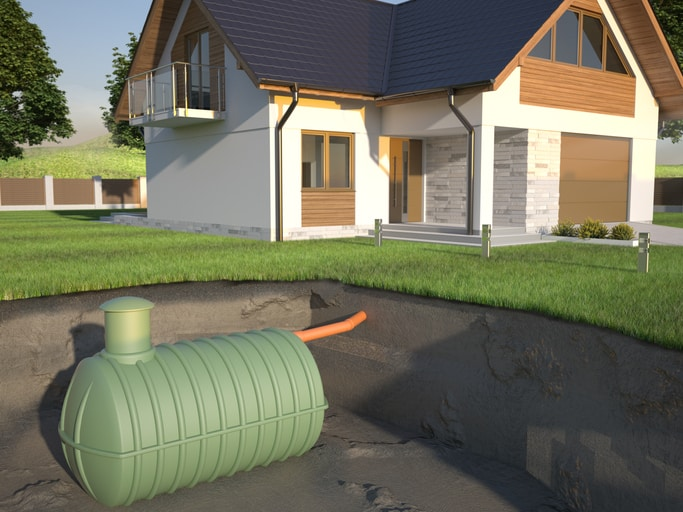 Undenground septic tank and house