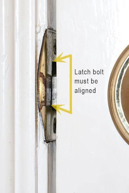 Door latch bolt aligned