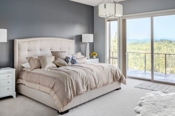 master bedroom in new luxury home