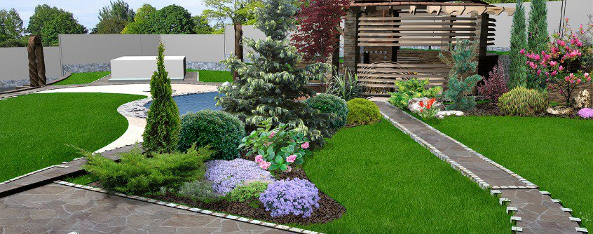 patio horticultural background 3d rendering
