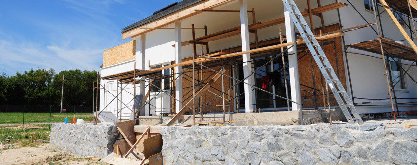 renovate and repair residential house facade wall with mineral wool