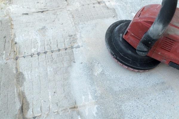 sanding carpet glue residue