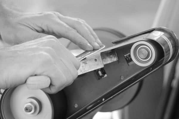 A blade getting sharpened