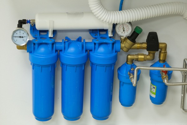 Typical whole house water filtering system